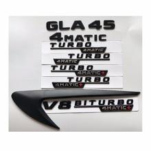 Black Letters GLA45 V8 BITURBO TURBO 4MATIC+ Fender Trunk Tailgate Emblem Emblems Badges Badge for Mercedes Benz AMG X156 W156
