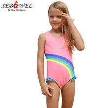 SEBOWEL Cute Girls Rainbow Pink Swimsuit Baby Kids One Piece Swimwear 2019 Summer Swimming Suit Ruffle Rrim Beach Bathing Suit
