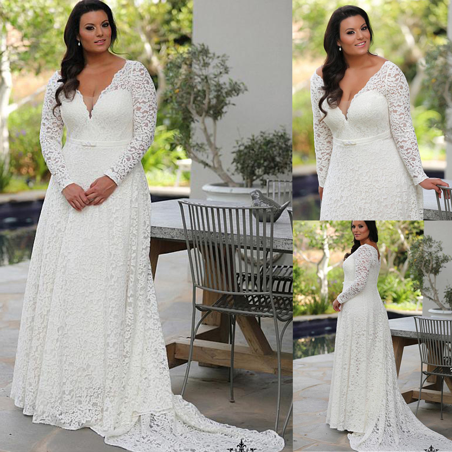 Glamorous Lace V neck Neckline A line Plus Size Wedding Dresses With Bowknot Long Sleeves Lace