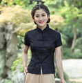 Top Selling Black Ladies Lace Shirt Tops Classic Chinese Style Short Sleeves Blouse Size S M L XL XXL XXXL 2520-1