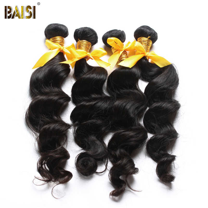 BAISI Hair Natural Wave Unprocessed Human Hair Weave 10A Raw Peruvian Virgin Hair Extensions 100% Human Hair