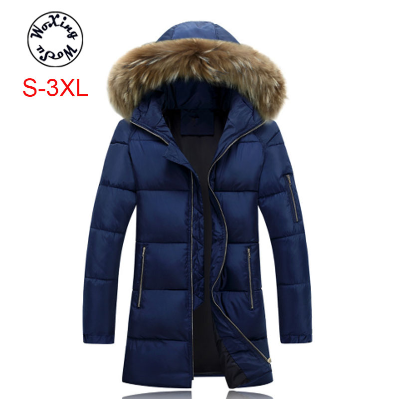 Woxingwosu winter men's parkas hooded cotton padded large fur collar male's coat long thick warm jackets