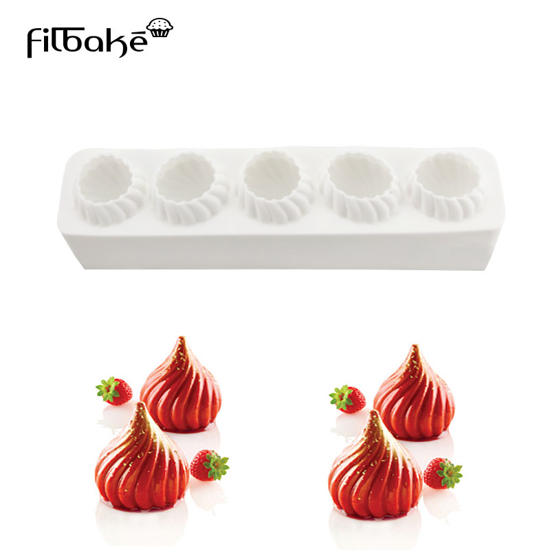 FILBAKE 1PCS Five Holes Flame Dome Shaped Rectangle Silicone Mold Baking Desserts Cake Decorating Tools