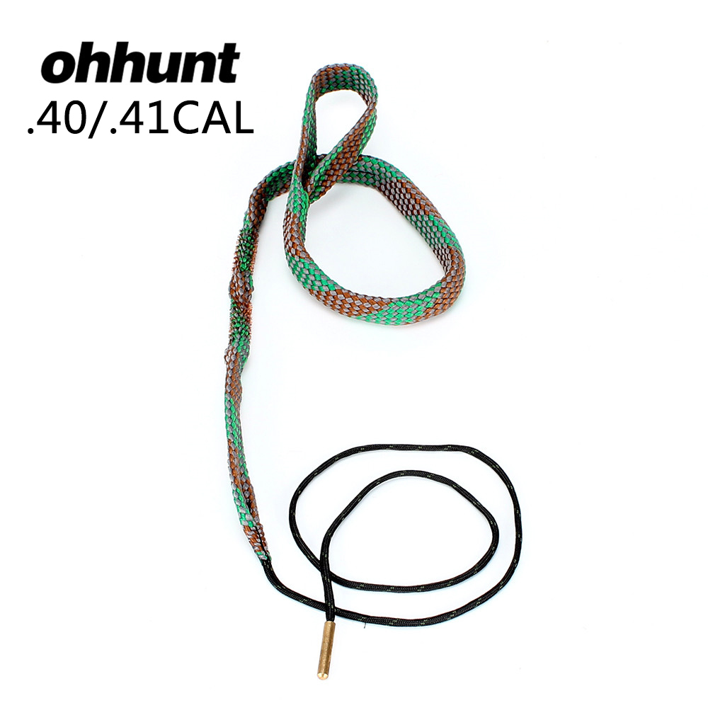 ohhunt Hunting Tactical Bore Snake Cleaner Kits .40 Cal .41 Cal Gauge Cleaning Tools for Pistols Rifle Barrel Bronze image