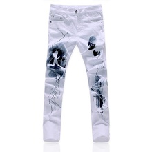 High-end white 3D printed mens jeans / new high-quality goods Cotton fashion printed elastic slim leisure male white jeans