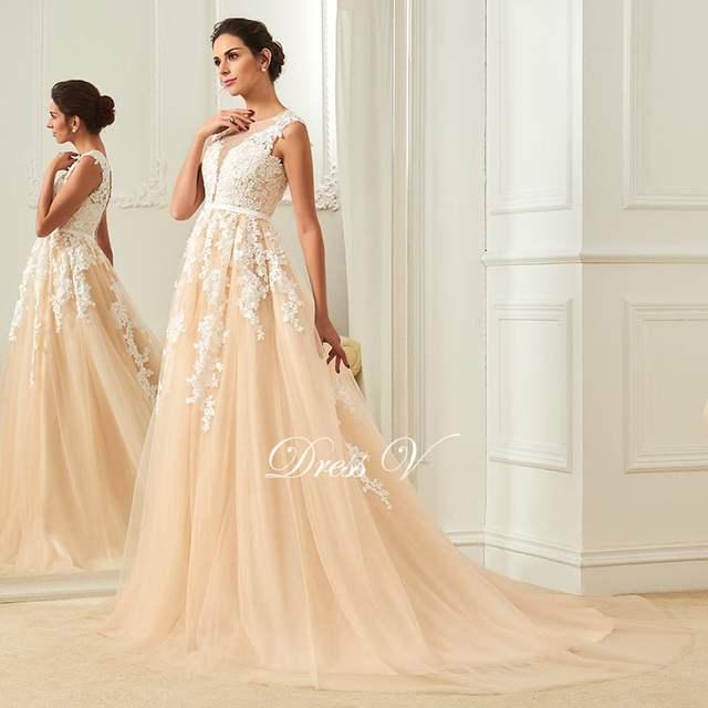 2e3c8b4e4f68c US $126.23 52% OFF Dressv champagne wedding dress scoop neck a line  appliques court train bridal gowns elegant long outdoor&church wedding  dresses-in ...