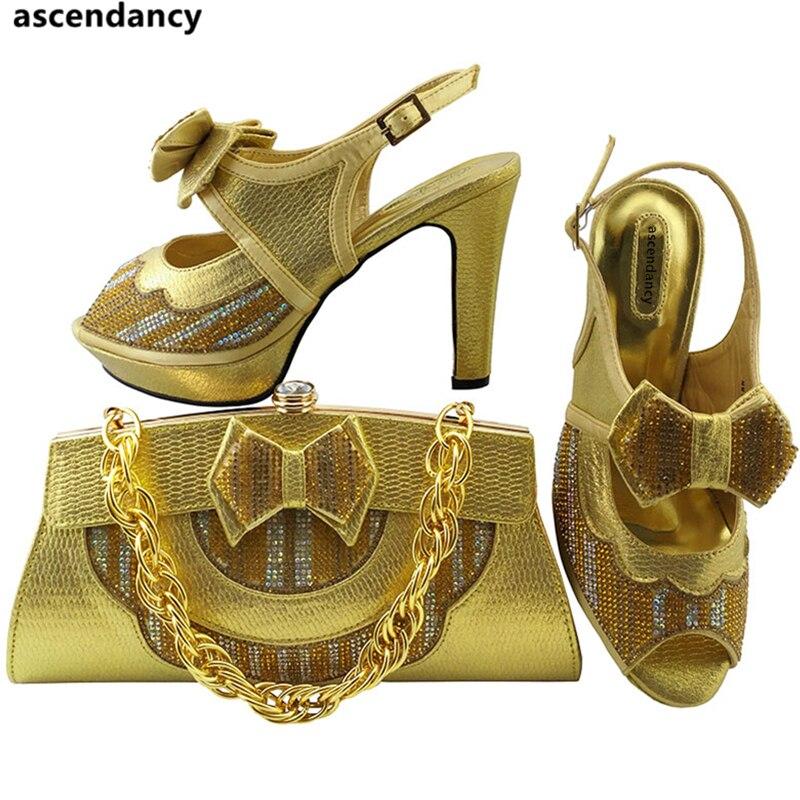 Real oro Nigeriano Decorado peach Con Conjunto azul Agua Última Juego A Dark green La Rhinestone Color Blue Bolsa Zapatos Y Verde rosado Bolsas De Italia rojo qw7fHq4