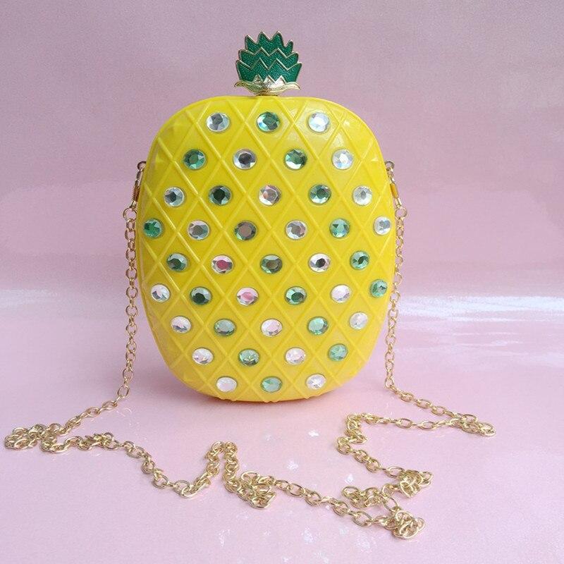 2017 de moda personalizada diamante de acrílico piña fruta forma de embrague noc