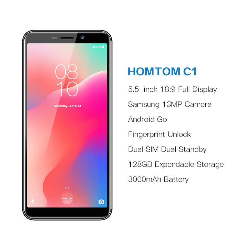 Image 2 - Global Version HOMTOM C1 16GB 5.5Inch Mobile Phone 13MP Camera Fingerprint 18:9 Display Android 8.1 MT6580A Unlock Smartphone-in Cellphones from Cellphones & Telecommunications