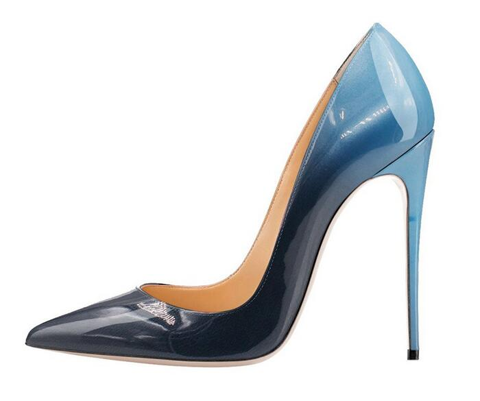 Sexy Gradient Patent Leather Stiletto Heels Pumps For Women Pointed Toe Shallow High Heeled Party Dress Shoes Slip-on Women Pump aiweiyi women fashion peep toe high heeled shoes print stiletto high heels patent leather pumps ladies wedding party dress shoes