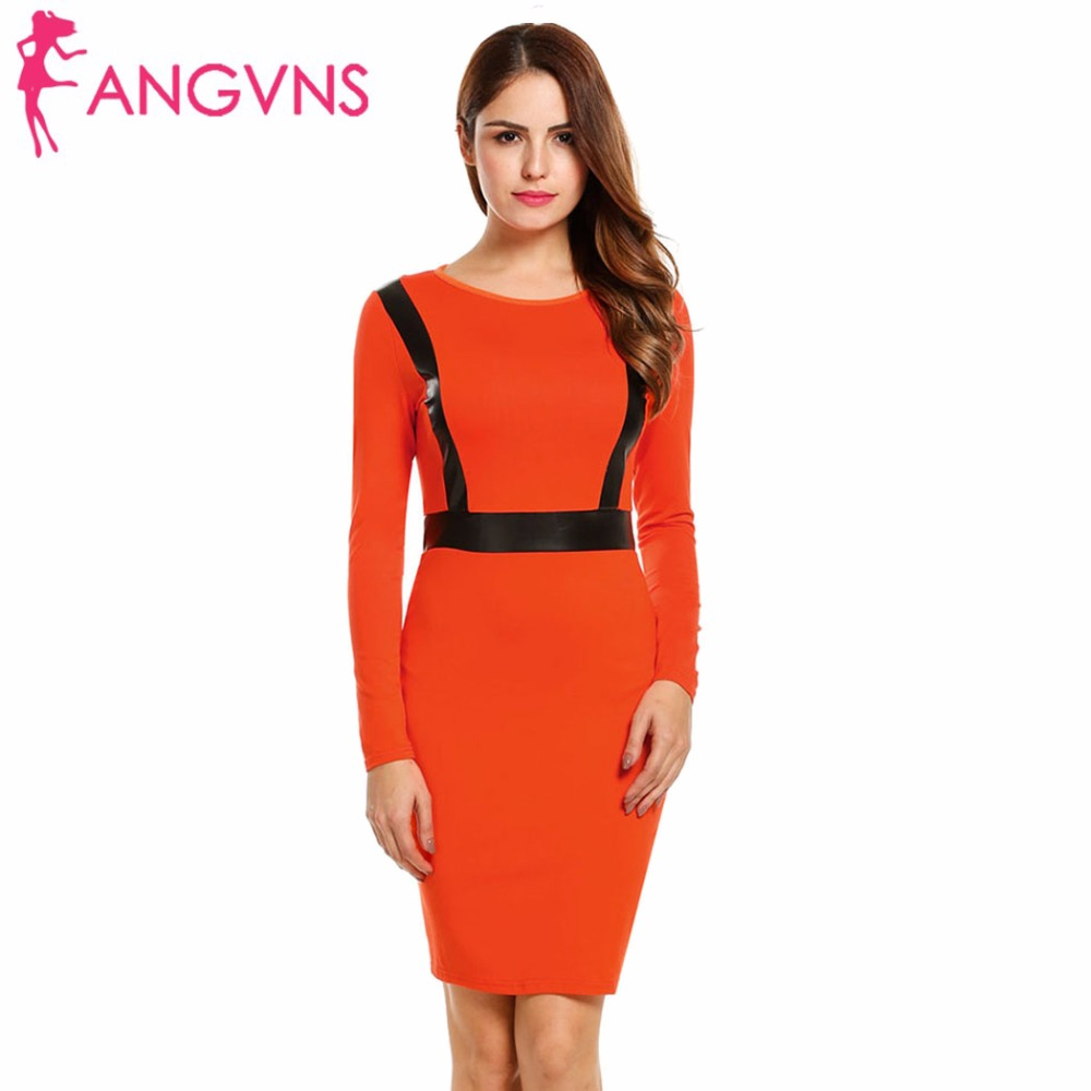 d1aa61b671 ANGVNS Women Elegant Pencil Dress Tight Autumn Slim Casual Work Office  Business Bandage Patchwork Party Dresses Vestidos Female-in Dresses from  Women's ...