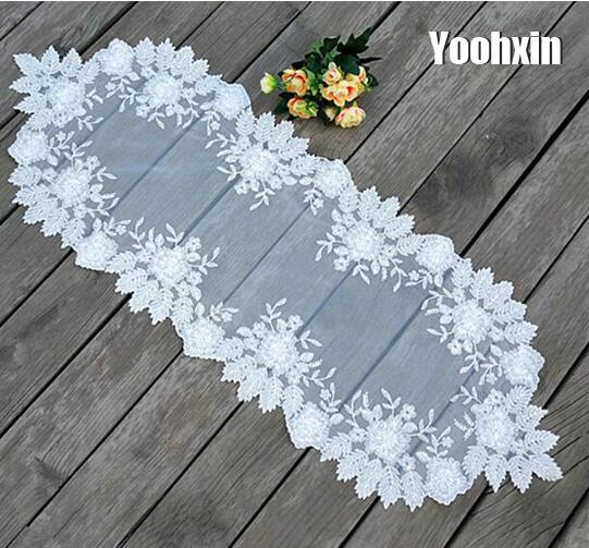 Modern white lace embroidery bed table runner flag cloth cover dining coffee tea cutwork tablecloth placemat hotel wedding decor