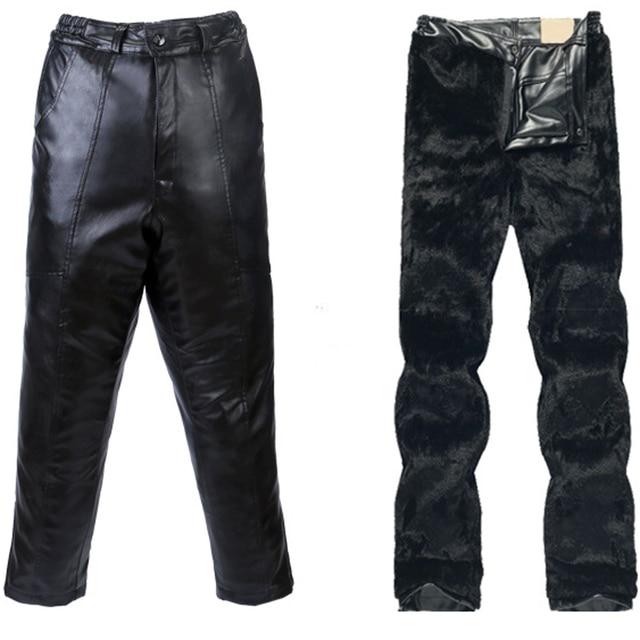 Correa libre + Motocicleta Motocross Riding Protectoras Con Pantalones de Terciopelo Pantalones de Moda A Prueba de agua A Prueba de Viento de Invierno de Los Hombres de Cuero de LA PU