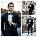 2017 Nova Moda Desgaste Veludo Azul do noivo Smoking/Ternos de Casamento Para Os Homens/3 Peças Ternos (Jaqueta + calça + Gravata Borboleta)