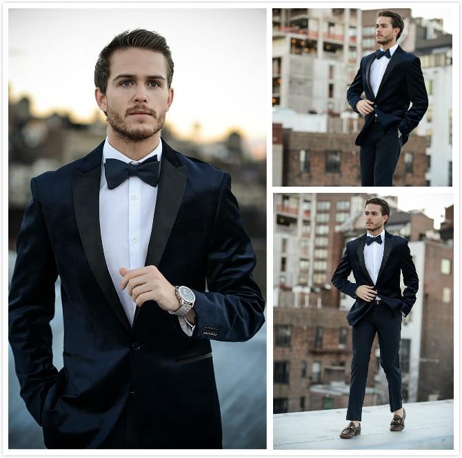 2018 New Fashion Groom's Wear Blue Velvet Tuxedos/Wedding