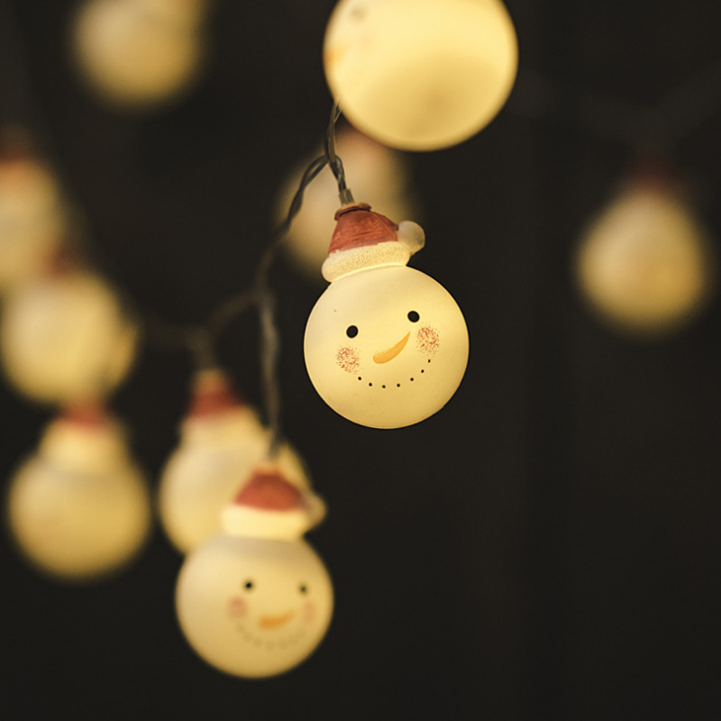 High quality outdoor 10 meters 80 lights snowman doll battery light string Holiday Lighting decorative