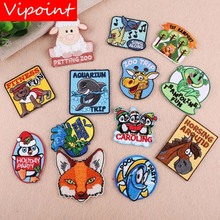 VIPOINT embroidery fox deer frog fish sheep patch cartoon patches badges applique for clothing YX-115