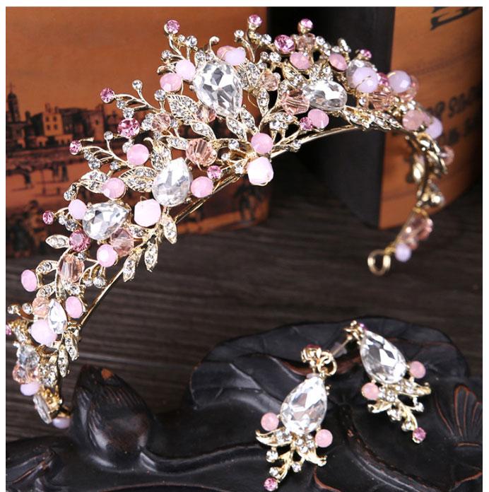 Pink Gold Pearl Bridal Crowns Tiara Bride Headband Crystal Wedding Diadem Queen Crown,Pink Crown