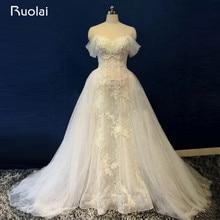 Foto real atractivo fuera del hombro de encaje con cuentas sirena vestido de novia ata para arriba el vestido de novia de tren desmontable ASAW38