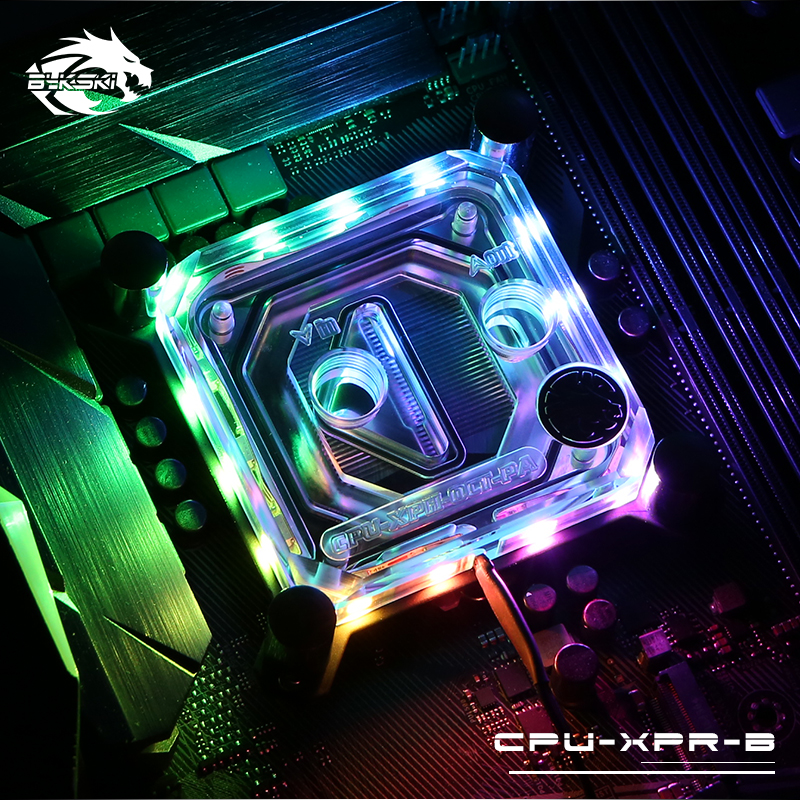 Bykski CPU-XPR-B-PA RBW Led CPU Water Cooling Copper Block for Intel 115x 20xx free shipping 53 53 14mm pure copper water cooling block for intel cpu buckle computer copper cpu water block