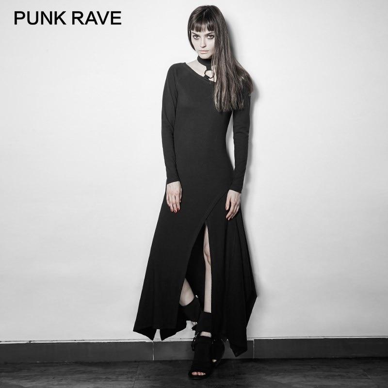 01f435ba83bb Detail Feedback Questions about PUNK RAVE Asymmetrical Hem Dresses Women  Rock Black Sexy V Neck Long Sleeve Slim Fitting 100% Cotton Long Dress  Evening ...