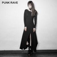 PUNK RAVE Asymmetrical Hem Dresses Women Rock Black Sexy V Neck Long Sleeve Slim Fitting 100