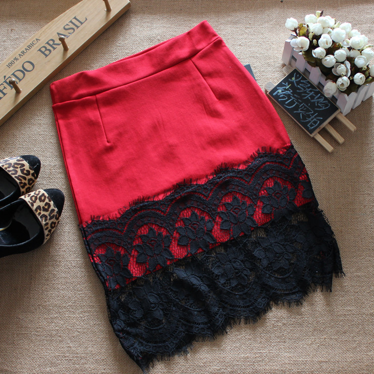 Skirts 2017 Women's Skirt New Spring Summer Professional Pen Slim Waist And Knee Elastic Cotton Lace Stitching Sexy Slim Bag Hip 6