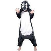 Wolf Unisex Adults Casual Flannel Hooded Pajamas Cosplay Cartoon Animal Onesies Sleepwear For Women Men