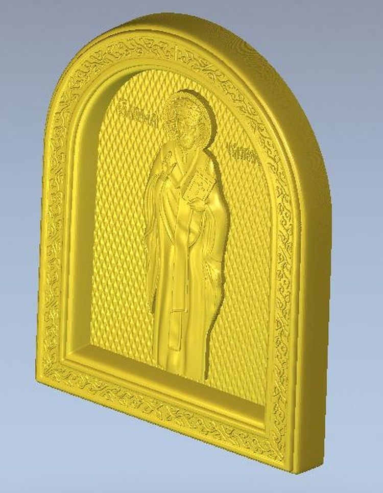 3d model relief  for cnc in STL file format Icon of St. Nicholas murder on st nicholas avenue