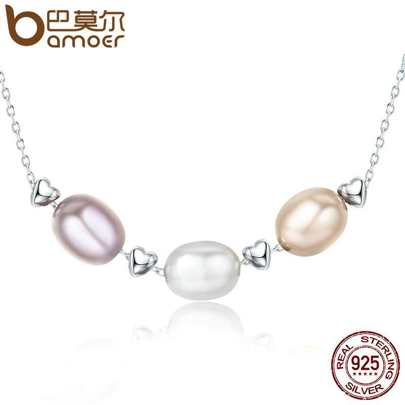 BAMOER nueva colección de amor de la plata esterlina 925 de la amistad de la familia de perla de agua dulce collar de la joyería Bijoux SCN075