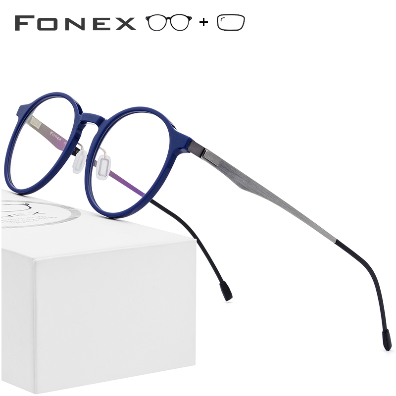 Acetate Optical Glasses Frame Women Retro Round Prescription Eyeglasses New Circle Myopia Spectacles Men Screwless Eyewear