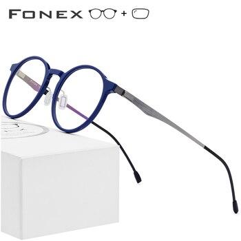 c20b9ea3d8 Montura de gafas ópticas de acetato para mujer gafas de prescripción redonda  Retro nuevo círculo gafas de miopía para hombre gafas sin tornillos