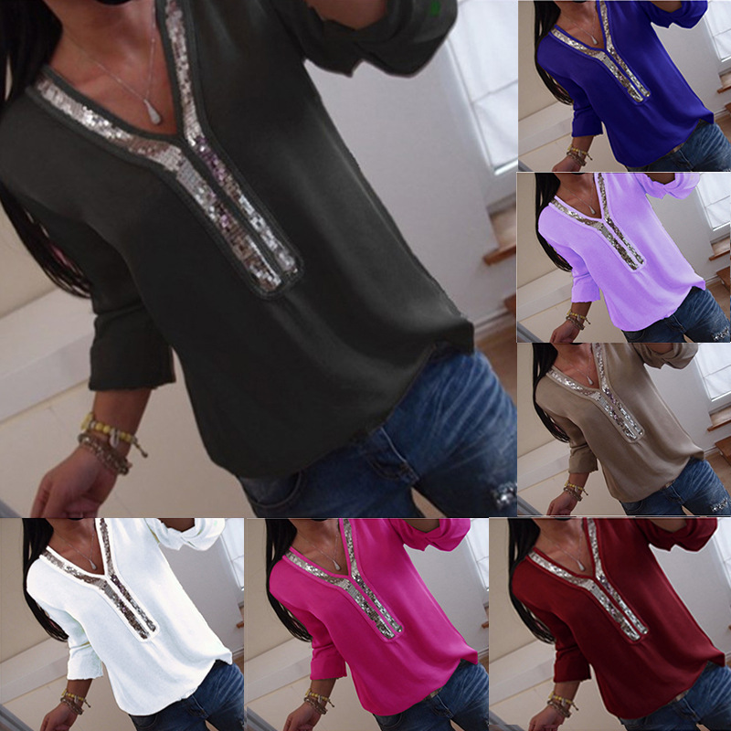 New Women Sexy V Neck Sequins Chiffon   Blouse     Shirt   Long Sleeve   Blouses   Tops