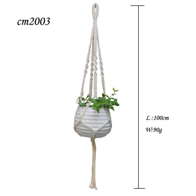 Wall-montado Bolsa De Malha De Algodão Cesta de Suspensão Da Planta Líquido Hand-woven Macrame Corda Decoração