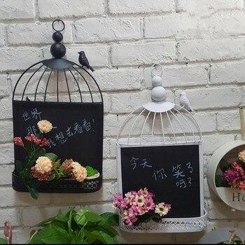 Européen Rétro Fer Cage à Oiseaux Tableau Noir Tenture Murale Décoration/décoration  Murale Café Magasin De Vêtements/panneau De Message