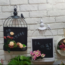 European retro iron birdcage blackboard wall hanging decoration / cafe clothing store  message board
