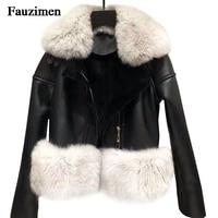 Короткая короткая овечья кожа Двустороннее пальто зимнее женское овечье стриженное пальто из натуральной кожи куртка пальто с лисьим мехо