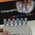 ¡ Nuevo! 1g Colorido Espejo Láser Polvo de Pigmento de Gradiente de Arco Iris Holográfica Lentejuelas Uñas Herramientas Del Arte Del Clavo Del Polvo Del Brillo Del Cromo