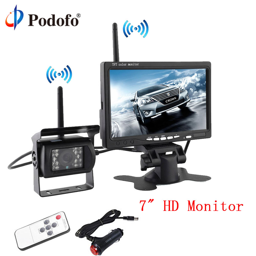 Podofo Wireless Backup Cameras System Parking Assistance Night Vision + 7 HD TFT LCD Car Monitor for RV Truck Trailer Bus wireless dual backup cameras parking assistance night vision waterproof rearview camera with 7 monitor for rv truck trailer bus