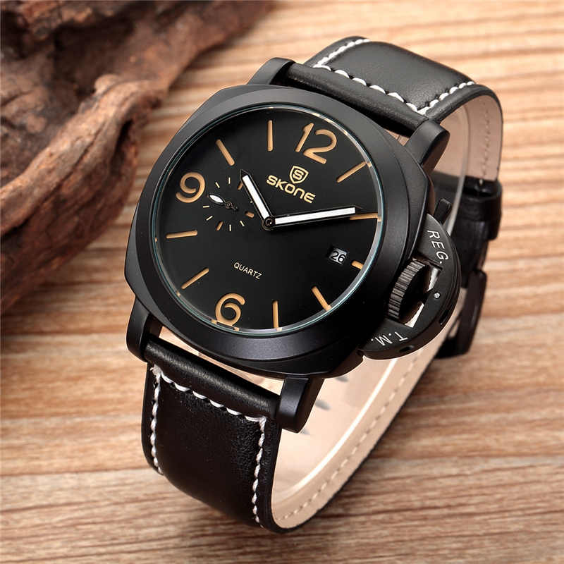 SKONE Brand Military Army Men's Watches Classic Male Luxury Watch Male Auto Date Leather Sport Waterproof Quartz Wristwatch