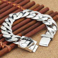 Wholesale S925 Sterling Silver Jewelry Big Mouth Male Thai Silver Bracelet Trend New Silver Chain Style