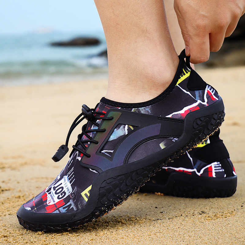 Hemmyi Summer Water Swimming Shoes Aqua Beach Shoes Big Size Sneaker for Men SPort Sandals Striped Colorful Zapatos Hombre