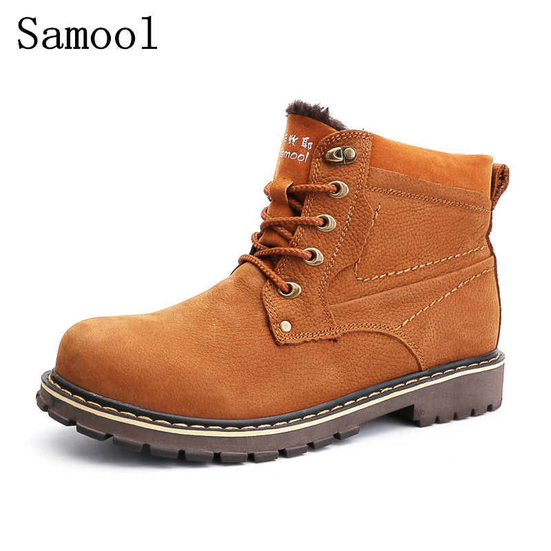 Fashion Working Type Genuine Leather Flats Casual Shoes Winter Leisure Lace Up Cashmere Men Short Upper Boots Big Size 37-50 men leather shoes 2016 new men s fashion genuine leather lace up casual shoes black brown khaki leisure flats