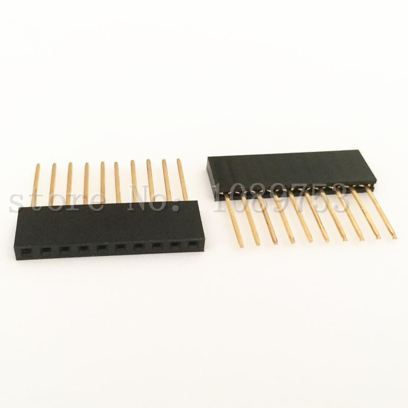 50Pcs 10Pin Female Tall Stackable Header Connector Socket For font b Arduino b font Shield Black