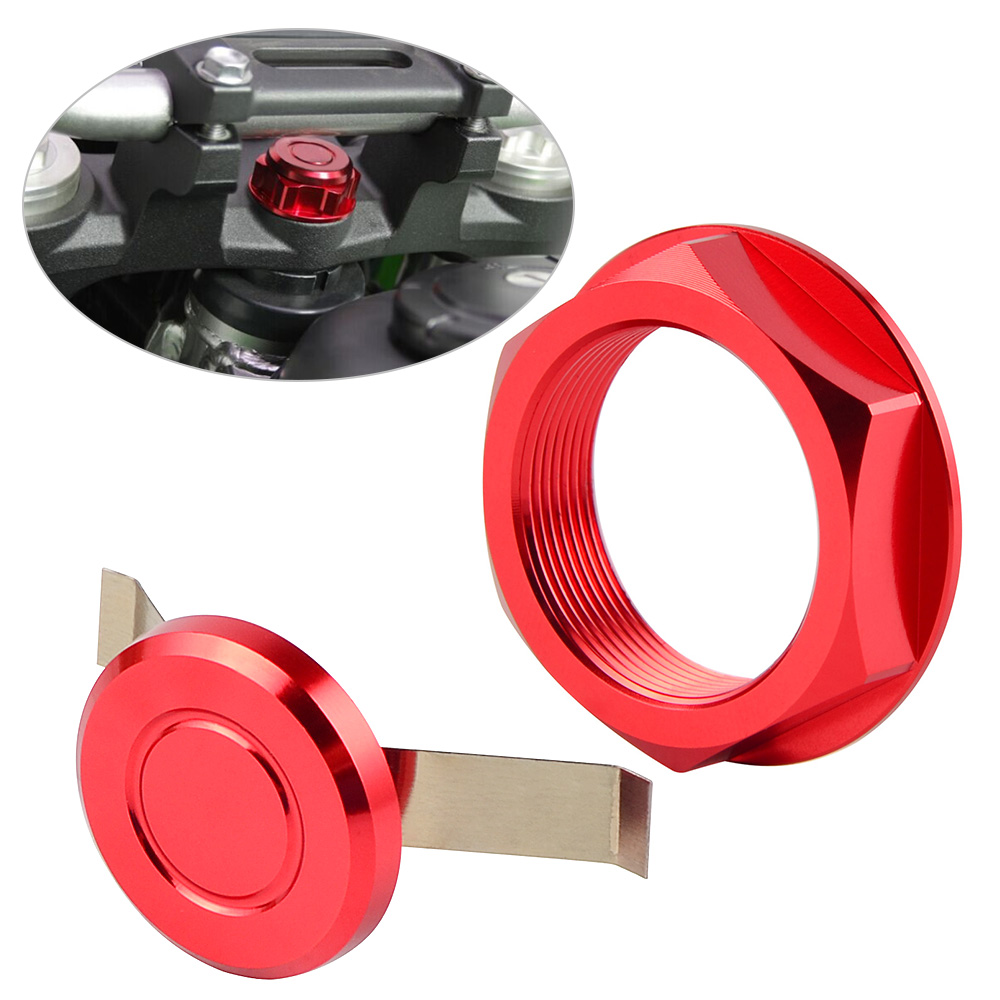 Billet Aluminum Steering Stem Nut Red for Honda CRF450R 2004-2019