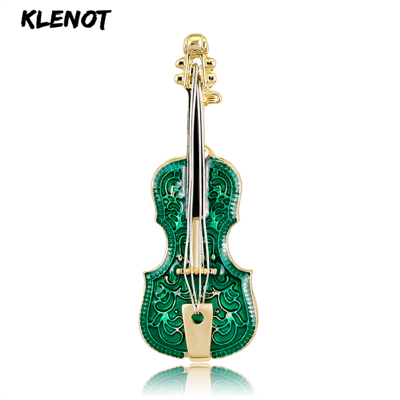 Green Enamel Guitar Violin Brooches Pin and Brooches for Women Wedding Party Jewelry Musical Instrument Metal Pin New Year GiftGreen Enamel Guitar Violin Brooches Pin and Brooches for Women Wedding Party Jewelry Musical Instrument Metal Pin New Year Gift