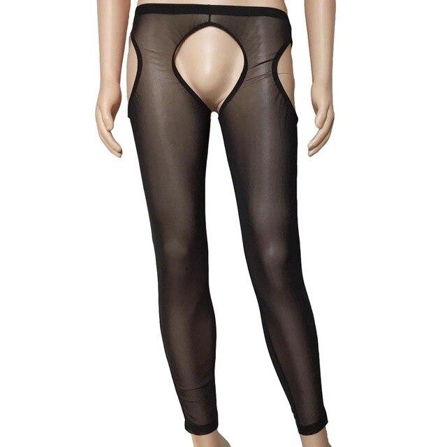 Men Erotic Open Crotch Buttock Sheer & Opaque Leggings Hot Pants Sexy Lingerie Gay Fetish Nightwear Underwear