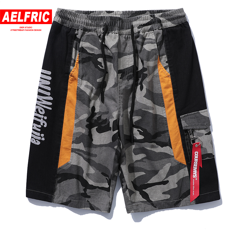 AELFRIC New Arrival Board Shorts Camo Men Casual Shorts Color Block Patchwork Camouflage Ribbons Short Joggers Male Shorts UR11
