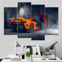 Modular Art One Set 4 Panel Back View Mclaren Modified Orange Sports Car Poster Decor Framework Canvas Painting Home Wall