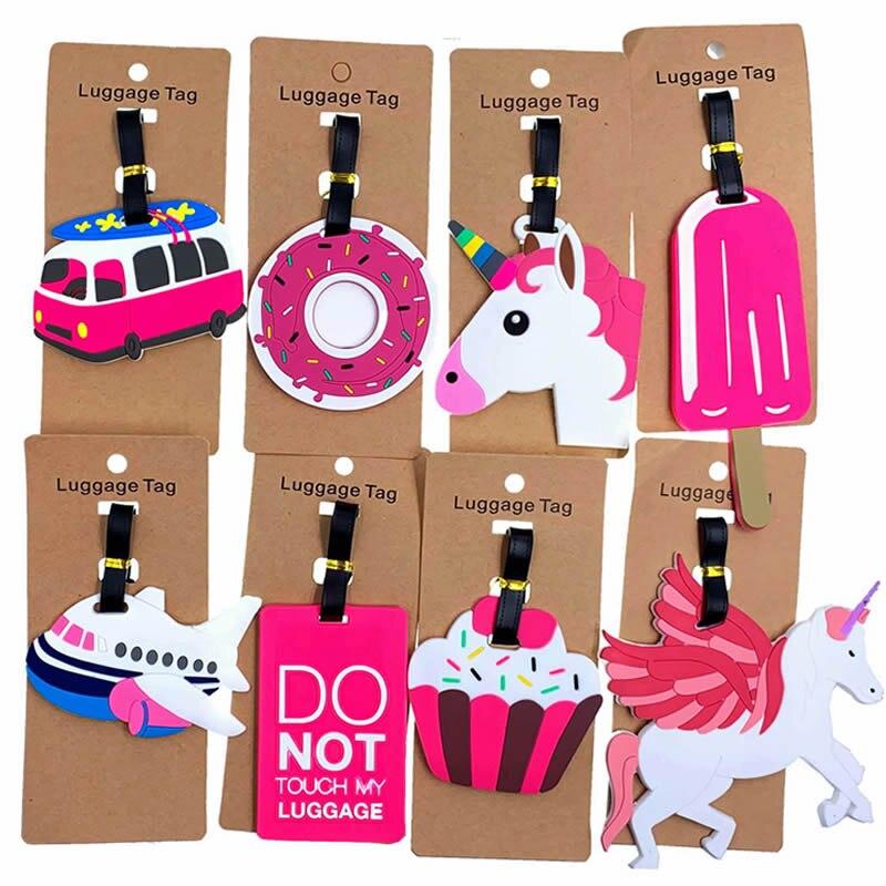 Accesorios de viaje etiqueta de equipaje creativa de animales de dibujos animados de Gel de sílice maleta ID addess titular equipaje bolsa etiqueta portátil